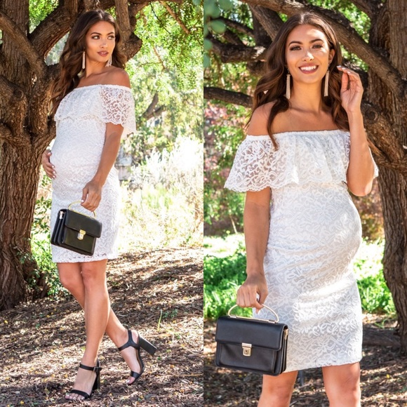 Nwt White Lace Off Shoulder Fitted Maternity Dress Nwt